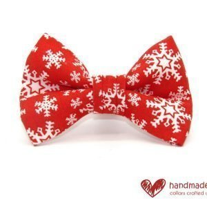 Christmas Snowflake Red and White Dog Dickie Bow
