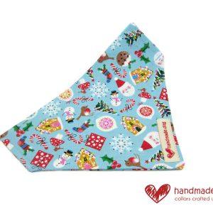 Handmade Blue Christmas Fabric Dog Bandana