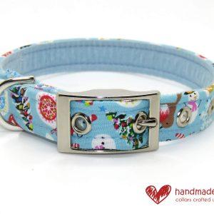 Handmade Christmas Festive Fun Blue Fabric Dog Collar