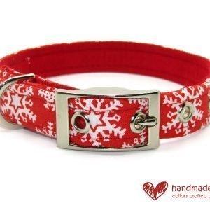 Handmade Christmas Snowflake Red and White Fabric Dog Collar