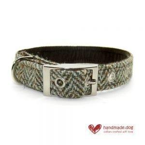 Handmade Brown Herringbone 'Harris Tweed' Dog Collar