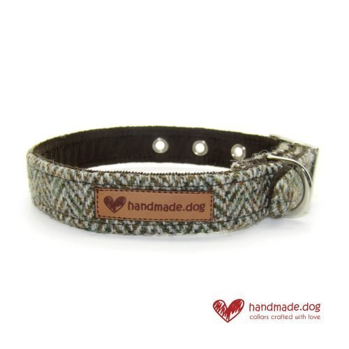 Handmade Brown Herringbone 'Harris Tweed' Dog Collar