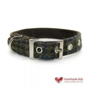 Handmade Brown Houndstooth 'Harris Tweed' Dog Collar