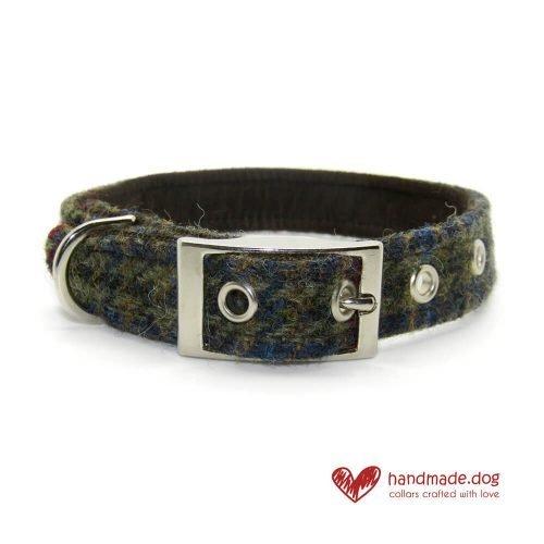 Handmade Brown Houndstooth 'Harris Tweed' Dog Collar