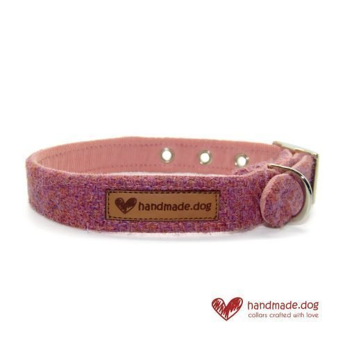 Handmade Dusky Pink 'Harris Tweed' Dog Collar