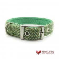 Handmade Green Herringbone 'Harris Tweed' Dog Collar