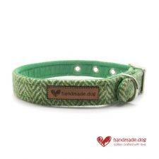 Handmade Green Herringbone 'Harris Tweed' Dog Collar