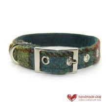Handmade Dark Green and Yellow Check 'Harris Tweed' Dog Collar