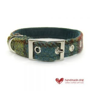 Handmade Dark Green and Yellow Check 'Harris Tweed' Dog Collar