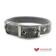 Handmade Soft Grey 'Harris Tweed' Dog Collar
