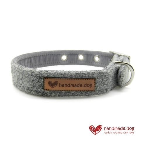 Handmade Soft Grey 'Harris Tweed' Dog Collar