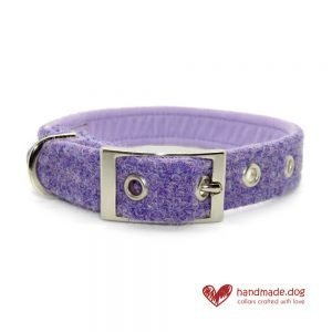 Handmade Lilac 'Harris Tweed' Dog Collar