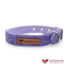 Handmade Lilac 'Harris Tweed' Dog Collar