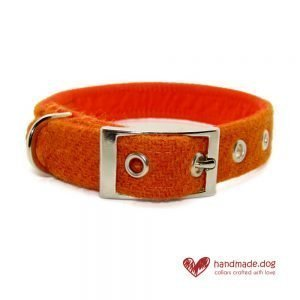 Handmade Orange 'Harris Tweed' Dog Collar