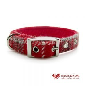 Handmade Red Check 'Harris Tweed' Dog Collar