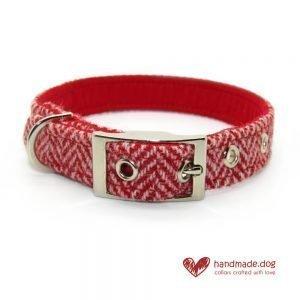 Handmade Red Herringbone 'Harris Tweed' Dog Collar