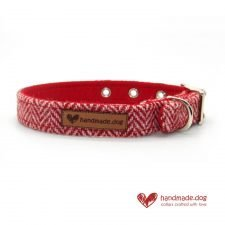 Handmade Red Herringbone 'Harris Tweed' Dog Collar