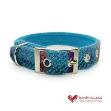 Handmade Turquoise Check 'Harris Tweed' Dog Collar