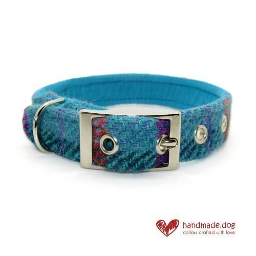 Handmade Turquoise Check 'Harris Tweed' Dog Collar