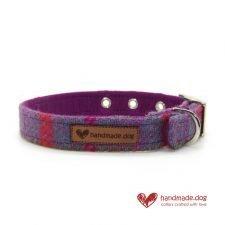 Handmade Purple and Turquoise Check 'Harris Tweed' Dog Collar