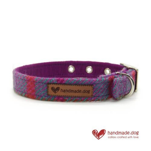 Handmade Purple and Turquoise Check 'Harris Tweed' Dog Collar