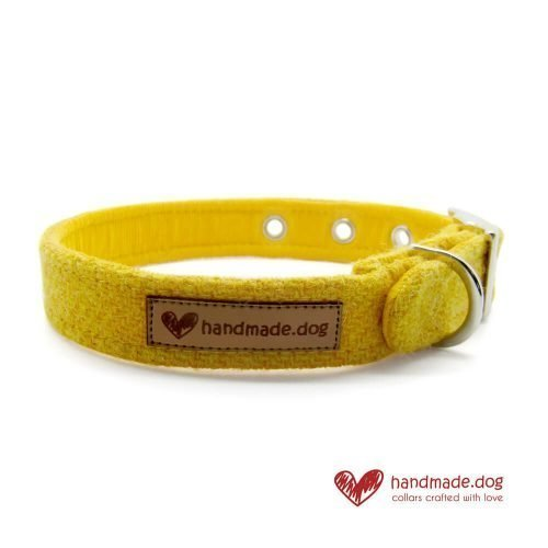 Handmade Yellow 'Harris Tweed' Dog Collar