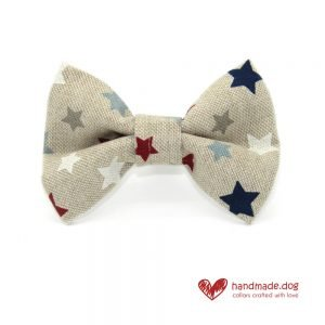 Handmade Red White Blue and Grey Stars Dog Dickie Bow