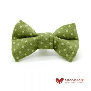 Handmade Green and White Spotty Dog Dickie Bow