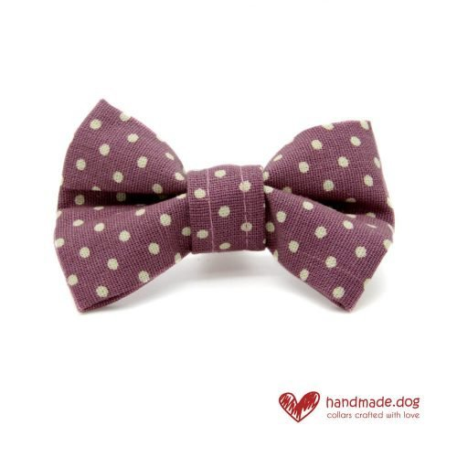 Handmade Mauve and White Spotty Dog Dickie Bow
