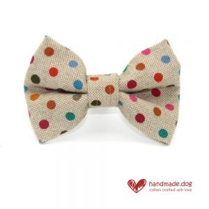 Handmade Multicoloured Spotty Fabric Dog Dickie Bow
