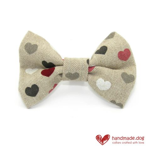 Handmade Pink Red White and Grey Hearts Dog Dickie Bow