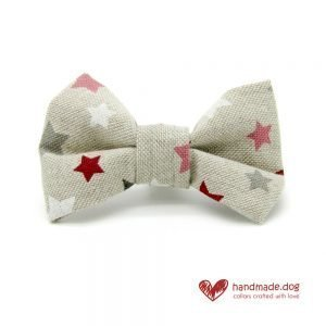 Handmade Pink Red White and Grey Stars Dog Dickie Bow