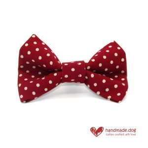 Handmade Red and White Spotty Dog Dickie Bow