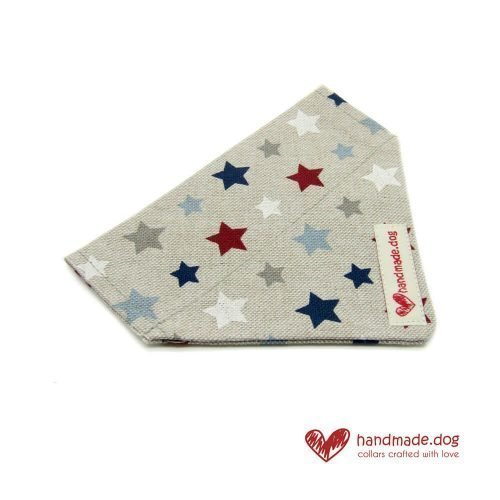 Handmade Red White Blue and Grey Stars Dog Bandana