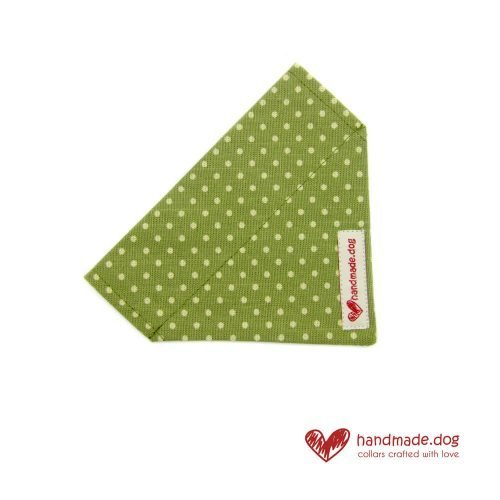 Handmade Green and White Spotty Dog Bandana