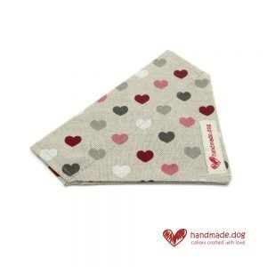 Handmade Pink Red White and Grey Hearts Dog Bandana