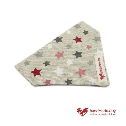Handmade Pink Red White and Grey Stars Dog Bandana