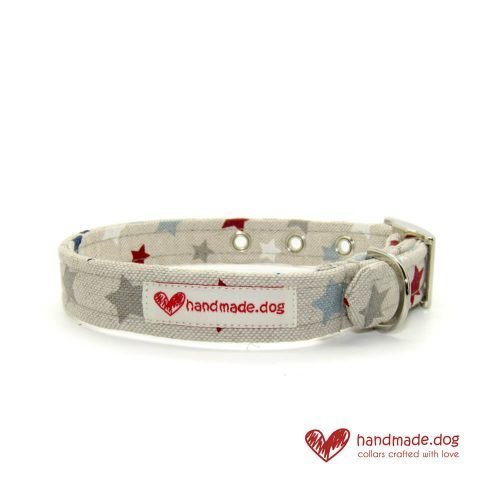 Handmade Red, White Blue and Grey Stars Dog Collar