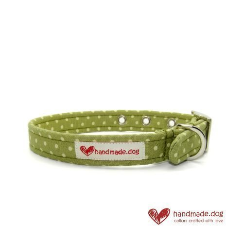 Handmade Green and White Spotty Fabric Dog Collar