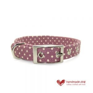 Handmade Mauve and White Spotty Fabric Dog Collar