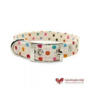 Handmade Multicoloured Spotty Fabric Dog Collar
