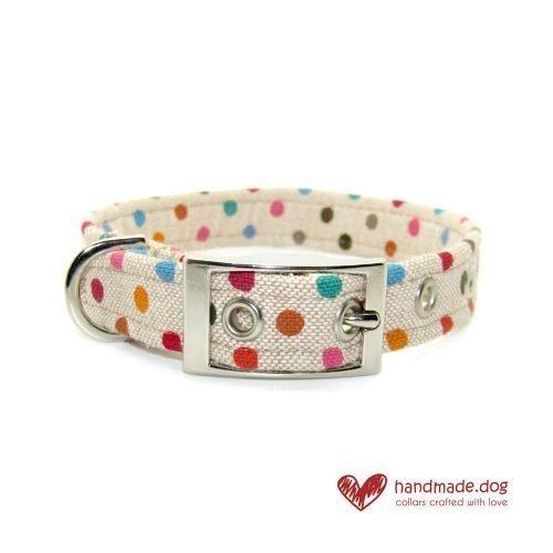 Handmade Multicoloured Spotty Fabric Dog Collar