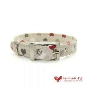 Handmade Pink White Red and Grey Hearts Dog Collar
