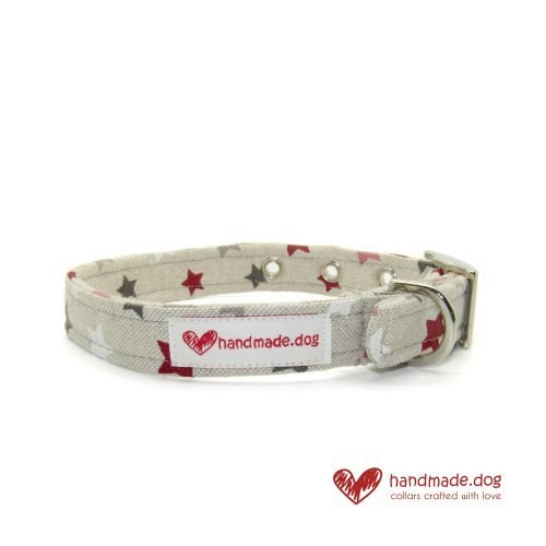 Handmade Pink White Red and Grey Stars Fabric Dog Collar