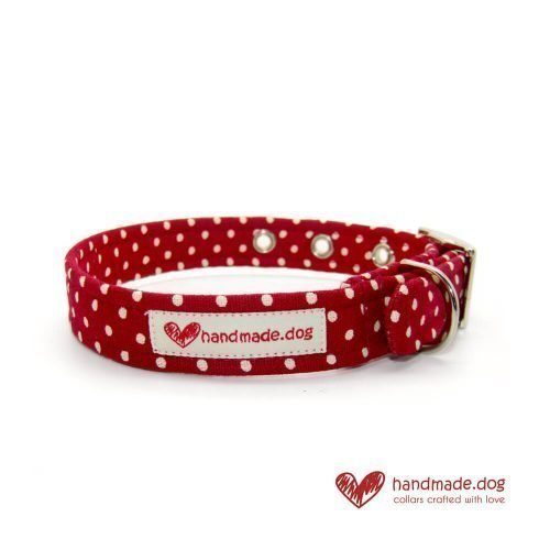 Handmade Red and White Spotty Fabric Dog Collar