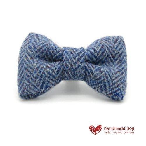 Handmade Blue Herringbone 'Harris Tweed' Dog Dickie Bow