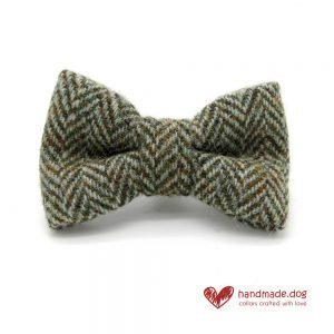 Handmade Brown Herringbone 'Harris Tweed' Dog Dickie Bow