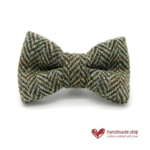 Handmade Brown Herringbone 'Harris Tweed' Dog Dickie Bow
