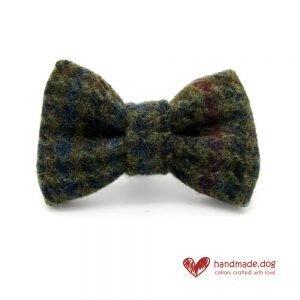 Handmade Brown Houndstooth 'Harris Tweed' Dog Dickie Bow