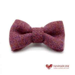 Handmade Dusky Pink 'Harris Tweed' Dog Dickie Bow